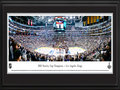 Picture: This 13.5 X 40 panorama has been professionally double matted in Los Angeles Kings team colors and framed to 18 X 44. It captures the Los Angeles Kings finishing off the New Jersey Devils with a 6-1 victory in Game 6 of the Stanley Cup Final, earning the franchise's first championship in its 45-year history. The 2012 LA Kings steamrolled through the postseason loaded with talent to become the most compelling team in the National Hockey League. They are the first No. 8 seed to win the Cup, the first team to defeat the top three teams in its conference and the first team with any seed to win the first three games of all four series, including the first two on the road in each round. The Kings are also the first team to take an undefeated road record into the Playoffs since 1994.