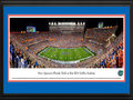 Picture: From 2016 as the Gators dedicate Steve Spurrier-Florida Field on September 3, 2016. This 13.5 X 40 panoramic posters is professionally double matted in team colors and custom framed to 18 X 44 from Florida's 2016 season opening win over UMASS. This panorama captures the evening Steve Spurrier-Florida Field at Ben Hill Griffin Stadium was dedicated. It spotlights the showdown between the Florida Gators and the University of Massachusetts in a season home opener played under the lights at The Swamp. Recognized as one of the toughest environments for a visiting team to compete, The Swamp was constructed in 1930 and ranks as the largest stadium in the state of Florida, with a current seating capacity of 88,548 fans. The Gators first season of football began in 1906 and since that time, they have amassed an impressive number of national championships and SEC titles.