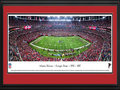 Picture: This 13.5 X 40 panorama has been professionally double matted in team colors and custom framed to 18 X 44. It shows the Atlanta Falcons competing against the New Orleans Saints and commemorates the Falcons' last regular season game at the Georgia Dome. Located in downtown Atlanta, the Georgia Dome opened in 1992 as the largest covered stadium in the world by capacity. It accommodates 74,228 fans for football and up to 80,000 for other events. The facility was built at a cost of $214 million and was one of the largest state-funded construction projects in state history. The Falcons will move to the new Mercedes-Benz Stadium in 2017, which will feature a retractable roof inspired by the oculus in the ancient Roman Pantheon.